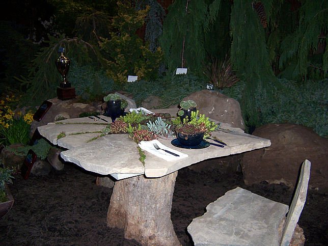 Sedum and slate table