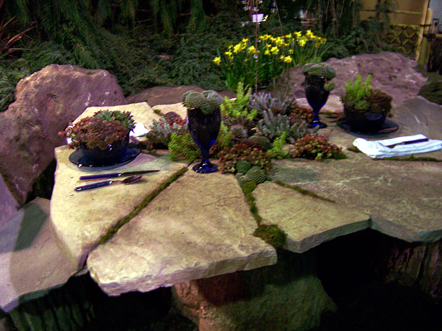Closer view of slate and sedum table